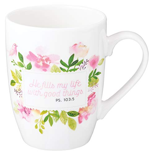 He Fills My Life Psalm 103:5 Ceramic Christian Coffee Mug for Women and Men - Inspirational Coffee Cup and Christian Gifts (12-Ounce Ceramic Cup)