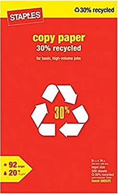 Staples 30% Recycled Legal Size Copy Laser Inkjet Printer Paper, 8 1/2 x 14 inch, 20 lb., 92 Bright White, Acid Free, Ream, 500 Total Sheets (580525)