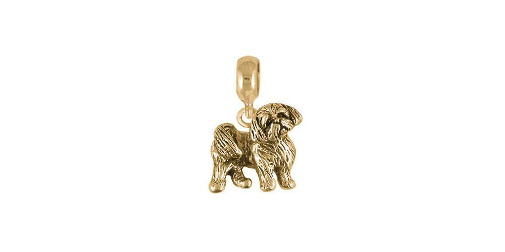 Shih Tzu Jewelry 14k Gold Handmade Shih Tzu Charm Slide SZ21R-PNSG