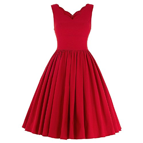 iShine Mini Vestido Vintage V-Cuello Sin Mangas para Mujer Elegante de Fiesta Noche Rojo