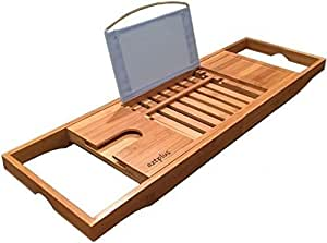 AZT Plus Luxury Organic Bamboo Bathtub, Caddy Tray with Extending Sides