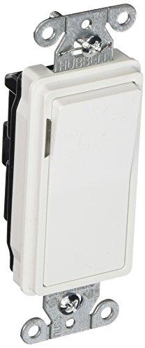 Hubbell DS120ILW Decorator Switch, Single Pole, 20 amp, 120/277V, Illuminated White -