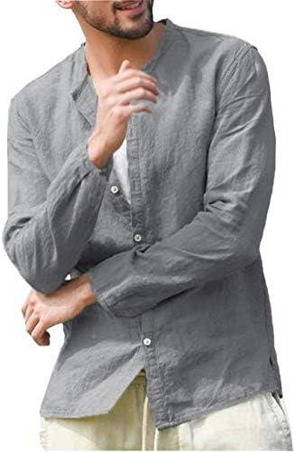 【D.R.CUBE】メンズ シャツ 襟なし 長袖 麻シャツ リネン
