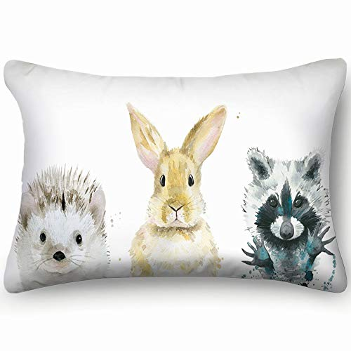 best bags Animal Set Watercolour On White Animals Wildlife Bunny Skin Cool Super Soft and Luxury Pillow Cases Covers Sofa Bed Throw Pillow Cover with Envelope Closure 1624 Inch