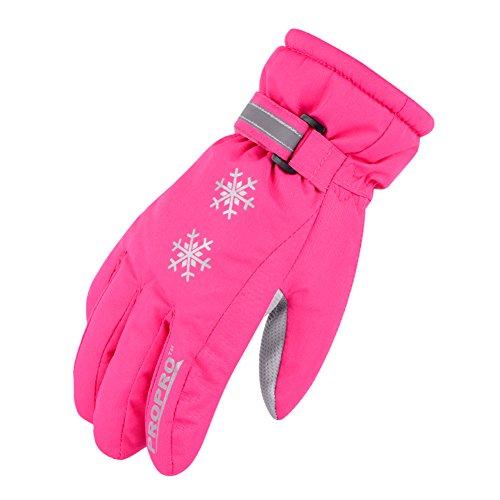 SE7VEN Gants De Ski Pour Enfants,Automne Et Hiver Plein Air Gants De Maintien Au Chaud Du Froid Antigel Light Respirabilité Gants Rose Rouge
