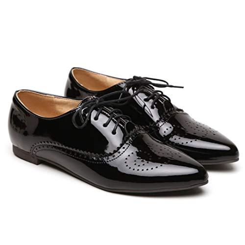 Women's Patent Leather Perforated Lace-up Oxfords Brogue Wingtip Flat Saddle Shoes for Ladies Black