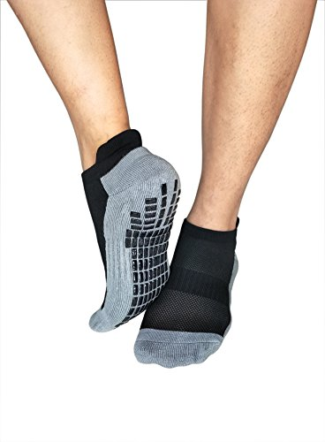 Review Deluxe Super Grips Anti Slip Non Skid Barre Yoga Pilates Maternity Pregnancy Hospital Socks for Adults Men Women Large (shoe size:9-11, 3-pairs/black)