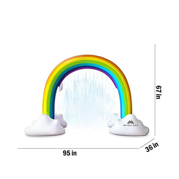 MeiGuiSha Inflatable Rainbow Yard Summer Sprinkler Toy, Over 6 Feet Long, Perfect for Summer Toy List 6