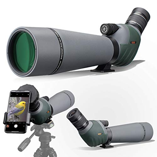 Gosky 20-60x80 Dual Focusing ED Spotting Scope - Ultra High Definition Optics Scope with Carrying Case and Smartphone Adapter for Target Shooting Hunting Bird Watching Wildlife Astronomy Scenery