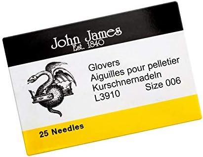 John James Aiguilles /à perles en cuir Taille 6 37 mm
