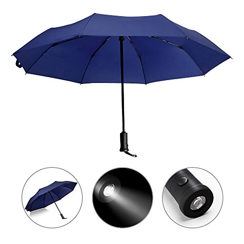 Price comparison product image Windproof Automatic Umbrella with 180° Rotating LED Light, Travel Umbrella with Auto Open and Close