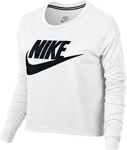 ビーチ飛行機持続的ナイキ トップス シャツ Nike Women's Sportswear Long Sleeve Crop White [並行輸入品]
