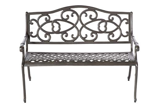 Alfresco Home Wisteria Garden Bench, Glossy Brown