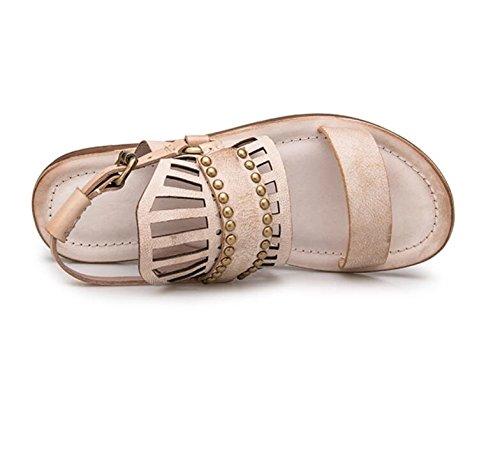 Ubicaciones de puntos de venta Envío gratis excelente Grrong Sandalias Femeninas Nuevo Estudiante Retro-casual Hueco Atractivo Del Verano Plana Con Zapatos Romanos UaFEBTDO7