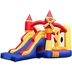 BestParty Spinning Windmill Castle Jumping Inflatable Bouncer without Blower