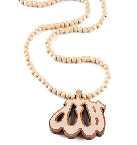 Islam Muslim Allah Name Arabic Calligraphy Pendant Amn024 Wood Round 128 Beads Necklace Hip Pop Rosary (Beige)