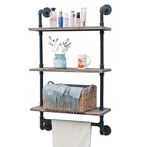 Toilet Iron - Bathroom Shelves Wall Mounted 3 Tiered,24in Industrial Pipe Shelving,Rustic Wood Shelf With Towel Bar,Black Farmhouse Towel Rack,Metal Floating Shelves Towel Holder,Iron Distressed Shelf Over Toilet