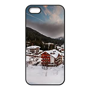 Italia Alps Winter Village IPhone 5,5S Case, Cute Iphone 5s Cases for Teen Girls Girls Protective Vinceryshop - Black by ruishername