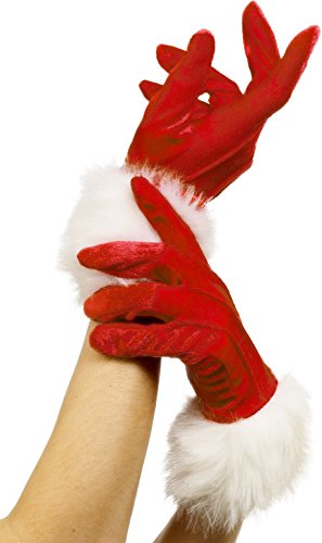 Smiffy's Women's Short Santa Gloves, Red, One Size, 29253