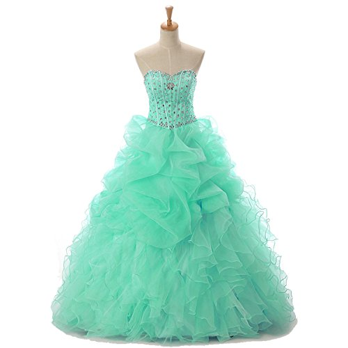 Quinceanerakleid Damen Abendkleider Ballkleid LuckyShe Organza Rüschen Prinzessin Lang Minze Festkleider d0wqFnfxC