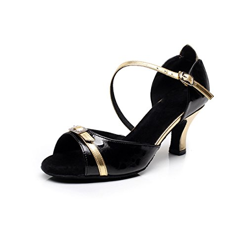 JSHOE Cristaux Féminins Sparking Satin Latin Salsa Danse Chaussures Tango / Chacha / Moderne / Jazz Danse Sandales Talons Hauts,D-heeled6cm-UK6/EU39/Our40