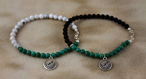 Turquoise, Howlite or Black Frosted Onyx December Birthstone and Sterling Silver Anklet - Capricorn Zodiac Charm