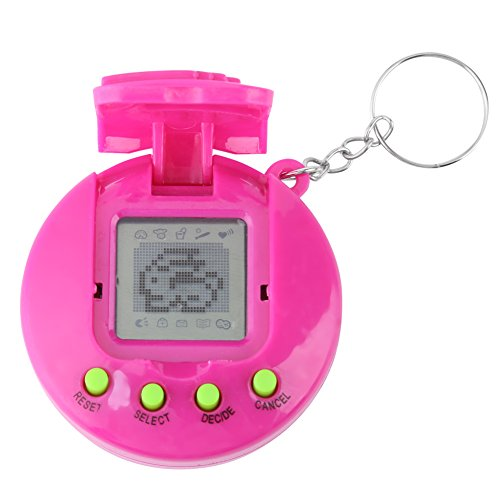 Yosoo123 Virtual Pets Keychain Electronic Digital Pet Game Keyring Children Baby Electronic Toys Nostalgic Virtual Digital Pet Retro Handheld Game Machine(Rose Red) ()
