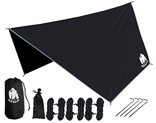 CHILL GORILLA HEX HAMMOCK RAIN FLY TENT TARP Waterproof Camping Shelter. Essential Survival Gear. Stakes Included. Lightweight. Easy to setup. RIPSTOP Nylon - Stores Oaks Rolling