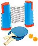 Bundaloo Ping Pong Net for Any Table - Tennis Sports Gear for Countertops, Dining Room and Garage Tables or Outdoor Surfaces - Set Includes Paddles, Ping Pong Balls and Retractable Net