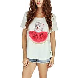 MIMW Women Girls Short Sleeves Cat Watermelon Print Loose Tops Blouse Shirts-Green-XXL