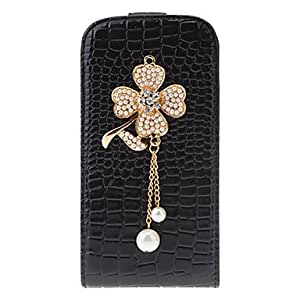 xiao Crocodile Grain PU Leather Case with Clover Beads for Samsung Galaxy S4 I9500 , Black