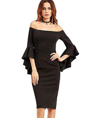 Buy bell sleeve black dress - 5