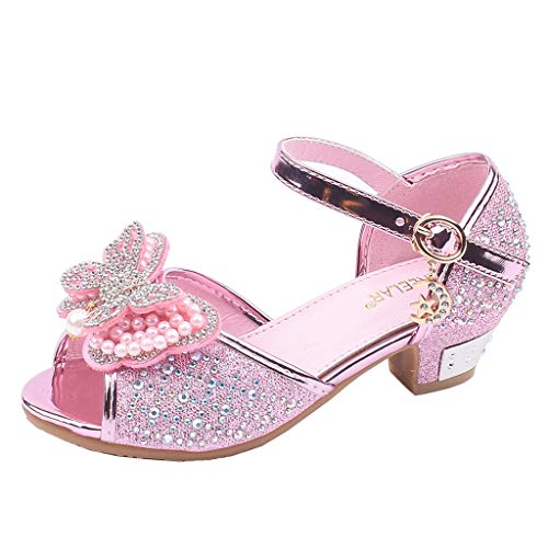 LNGRY Baby Shoes,Toddler Infant Kids Girls Butterfly Shaped Pearl Crystal Open Toe Dance Single Shoes Sandals (4.5-5 Years Old, Pink)
