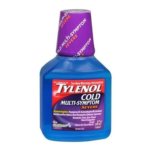 Tylenol Cold Multi-Symptom Liquid Severe Cool Burst 8 OZ - Buy Packs and Save (Pack of 3)