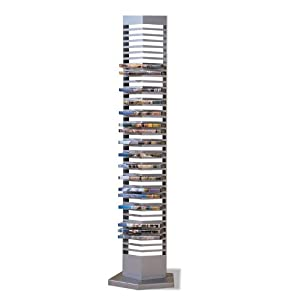 Modern Silver Finish Metal DVD Tower Rack (40 DVDs Storage ...