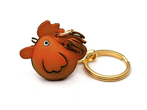 Rooster Animal Chinese Zodiac 3D Leather Keychain(L) VANCA CRAFT-Collectible Keyring Charm Pendant Made in Japan (Leather Ring Key Auto)