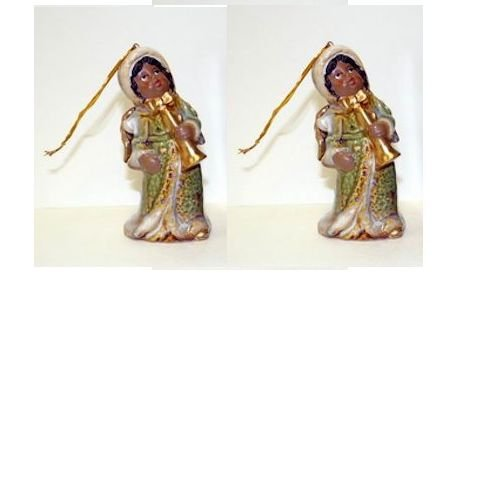 African American Christmas Angel Ornament & Bell Set of 2