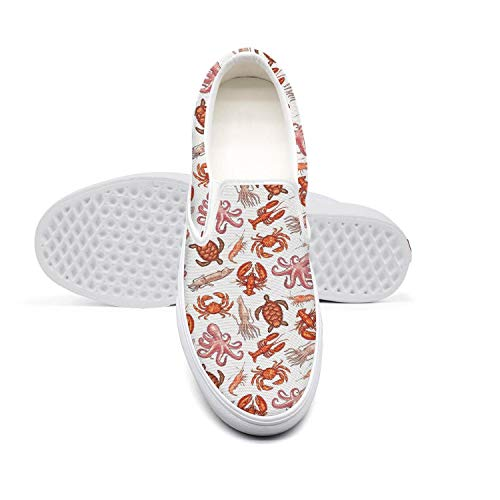 Crab Shrimp Octopus Llobster Sea and Turtle Women's Shoes Canvas Sneakers White Slip on Stylish Casual Sneakers Running Shoes