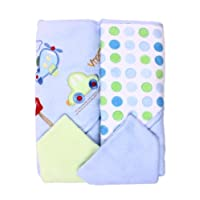 Spasilk Hooded Terry Bath Towel with Washcloths, Blue Train, 2-Count