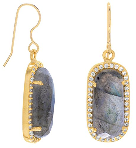 14K Gold Plated Sterling French Wire Earrings, Faceted Labradorite with CZ Edge, 1-1/2 inch