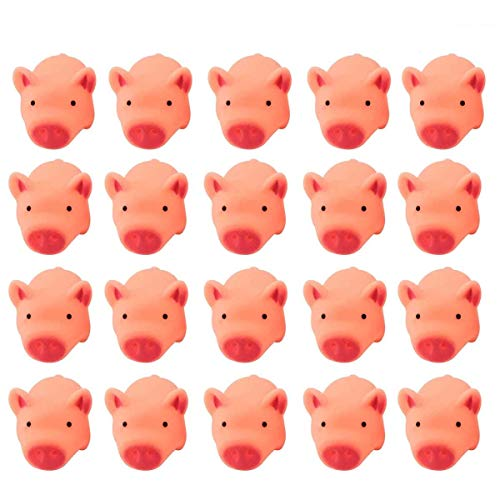 TTBD 20Pcs Cute Rubber Pink Pig Baby Bath Toy for Kid Can Float on The Water ()