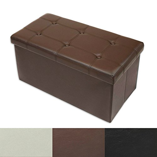 Casa Pura Ottoman Storage Bench   Classic Design Upholstered Ottoman Coffee Table Foot Rest   Faux Leather   Brown   3 Sizes Available   30    X 15    X 15