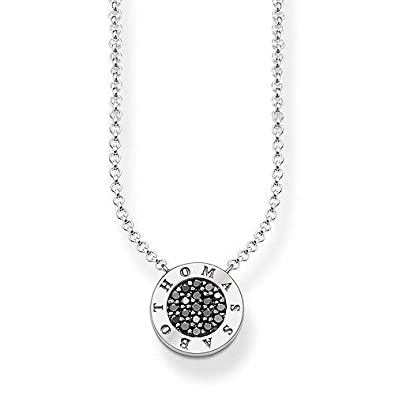 bb362a152 Thomas Sabo Women's 925 Sterling Silver Glam and Soul Black Classic Pave  Necklace of Length 45 cm KE1493-643-11-L45v: Amazon.co.uk: Jewellery