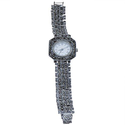 Marcasite Ladies Quartz Watch 925 Sterling Silver Women's Jewelry - Wristwatch - Sterling Marcasite Watch