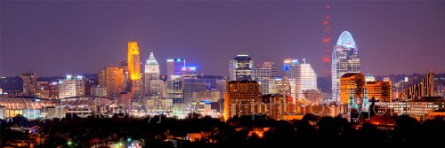 Cincinnati Skyline PHOTO PRINT UNFRAMED NIGHT Color City Downtown 11.75 inches x 36 inches Photographic Panorama Poster Picture Standard Size