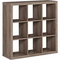 Better Homes and Gardens 9-cube Organizer Storage Bookcase Bookshelf, Rustic Gray