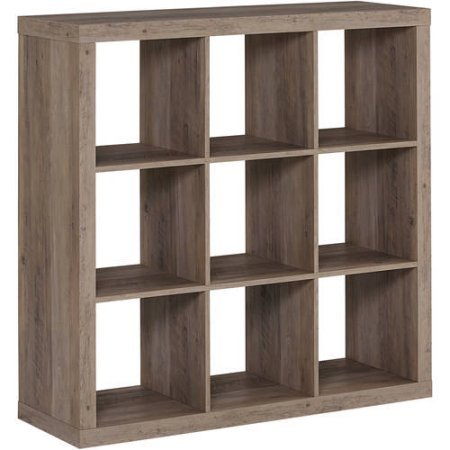 Better Homes and Gardens 9-cube Organizer Storage Bookcase Bookshelf, Rustic Gray