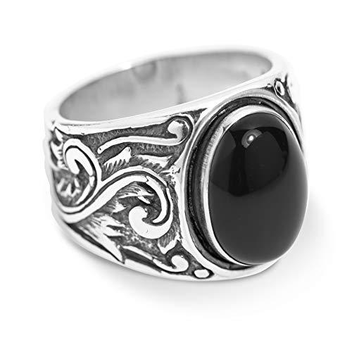American West Sterling Silver Black Agate Gemstone Scroll Leaf Wide Ring Size 8
