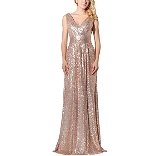 Belle House Rose Gold Sequins V Neck Prom Dress Long Evening Gown SD349