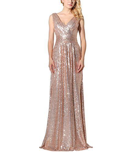 Belle House Rose Gold Sequins Sexy V Neck Evening Dresses Long for Women Formal Weddings Mermaid Prom Dresses 2019 Bridesmaid Dress Ball Gown